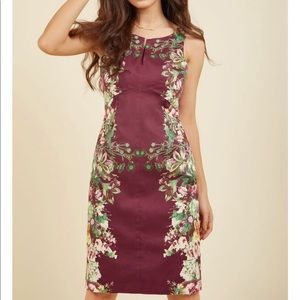 NWOT~ ModCloth burgundy floral sheath dress